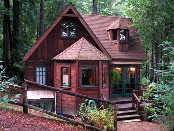 tranquil redwood cabin mental scoop