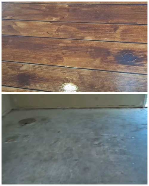 How to make a concrete floor look like hardwood flooring for What can i do to my concrete floor